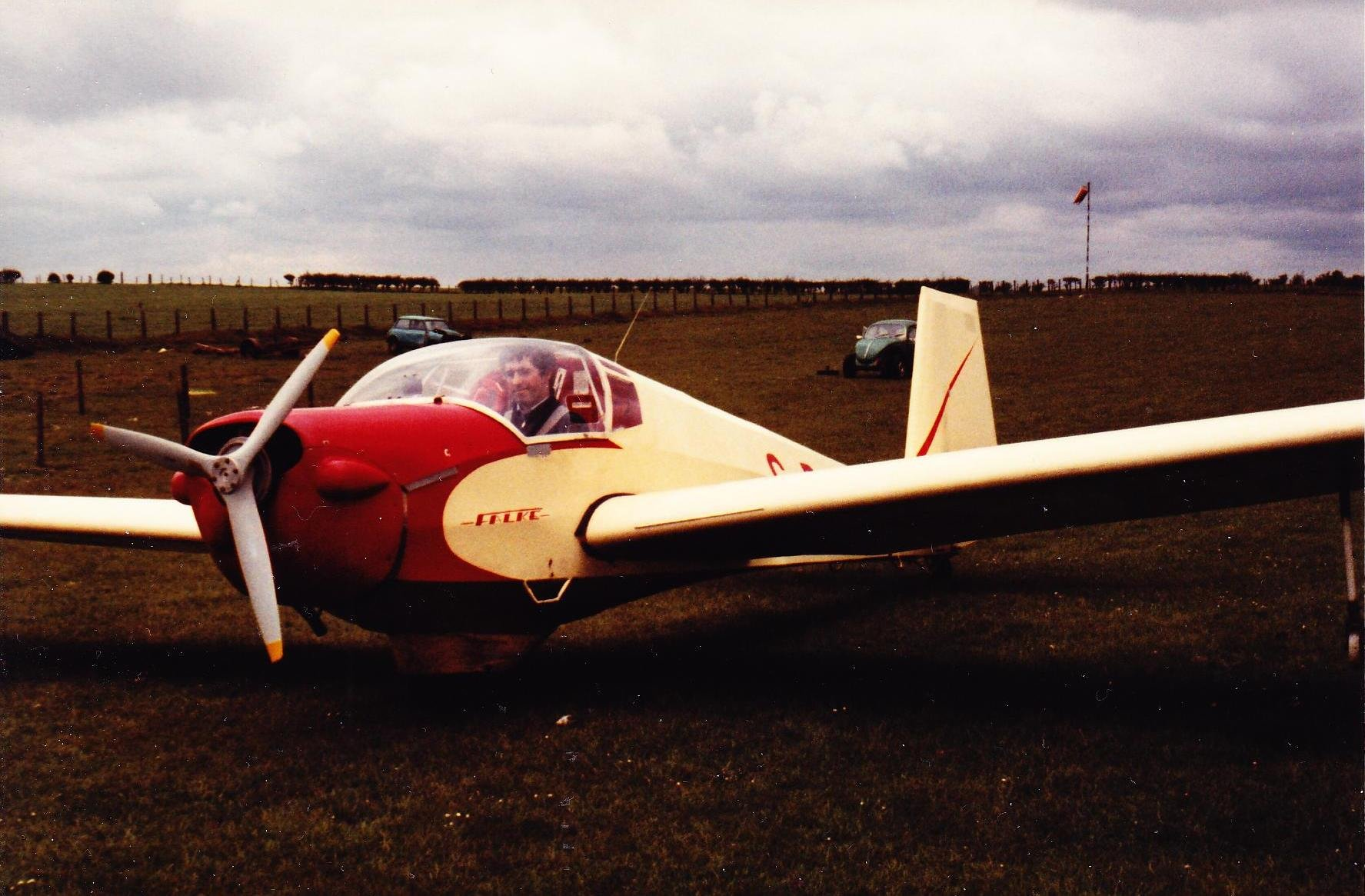 Falke motorglider at Strathaven Airfield, 1980, roughly where the new hangar is.