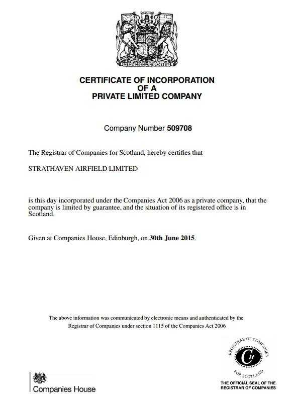 Company Registration document for Strathaven Airfield Ltd